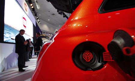 The electric receptacle on the Fiat 500e is pictured at the 2012 Los Angeles Auto Show in Los Angeles