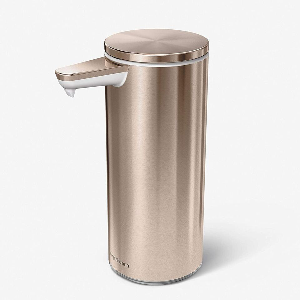 <p>This <span>Simplehuman Touch-Free Rechargeable Sensor Liquid Soap Pump Dispenser</span> ($50) comes in a few other finishes, but we love the rose gold shade.</p>