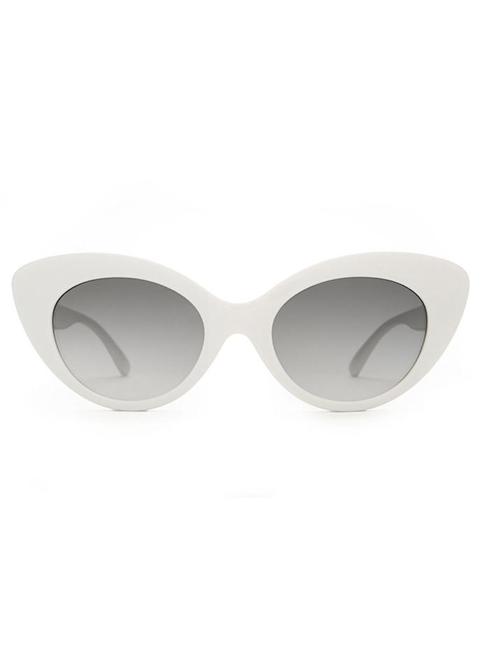 """<span>CRAP The Wild Gift Sunglasses in White, $58; at <a rel=""""nofollow"""" href=""""http://www.crapeyewear.com/products/the-wild-gift-gloss-white-w-grey-gradient-cr-39-lenses-sunglasses"""">CRAP</a></span>"""