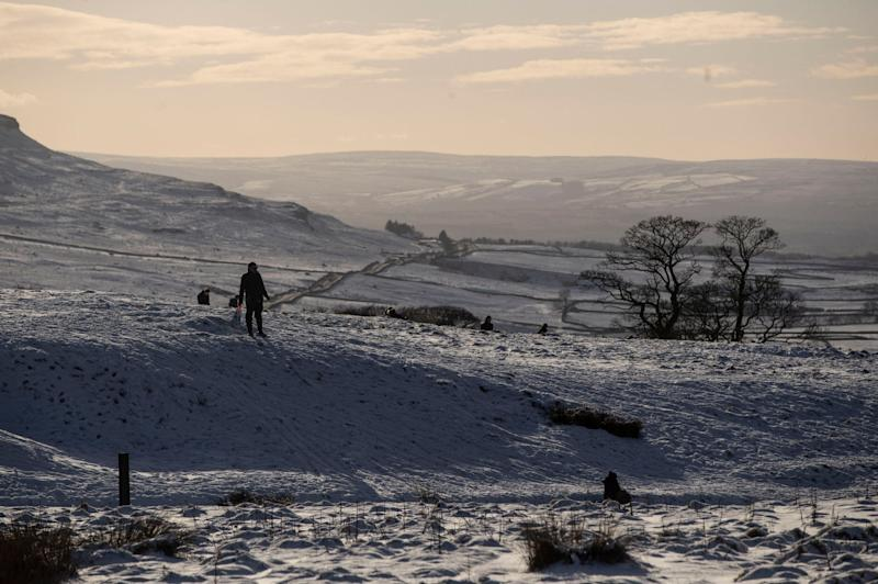 Snowy conditions near Ribblehead in Yorkshire (PA)