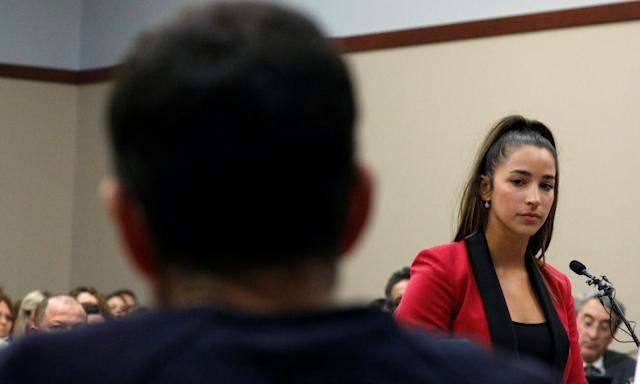 "<span class=""element-image__caption"">Aly Raisman facing Larry Nassar during his sentence hearing in January. </span> <span class=""element-image__credit"">Photograph: Brendan Mcdermid/Reuters</span>"