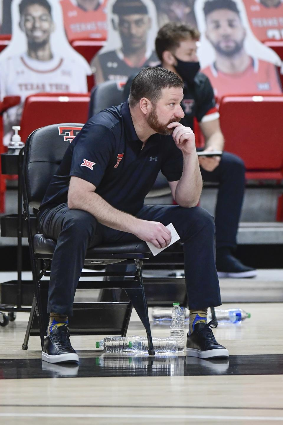 Texas Tech head coach Chris Beard sits on the sideline during the second half of an NCAA college basketball game against TCU in Lubbock, Texas, Tuesday, March 2, 2021. (AP Photo/Justin Rex)