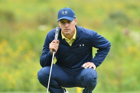 FILE PHOTO: Sep 3, 2017; Norton, MA, USA; Jordan Spieth lines up his putt on the 3rd hole during the third round of the Dell Technologies Championship golf tournament at TPC of Boston. Mandatory Credit: Mark Konezny-USA TODAY Sports