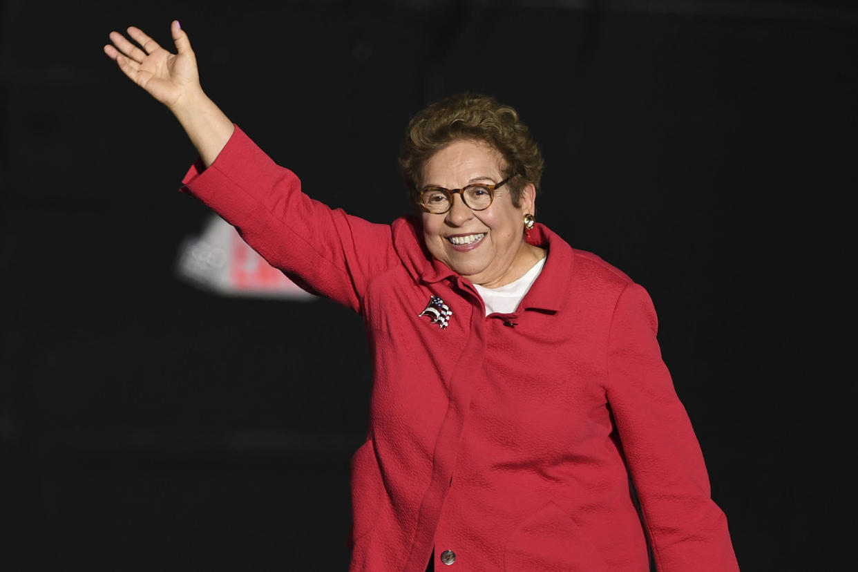 Donna Shalala waves during a political event in Miami. (Photo: Matrix/MediaPunch/Getty Images)