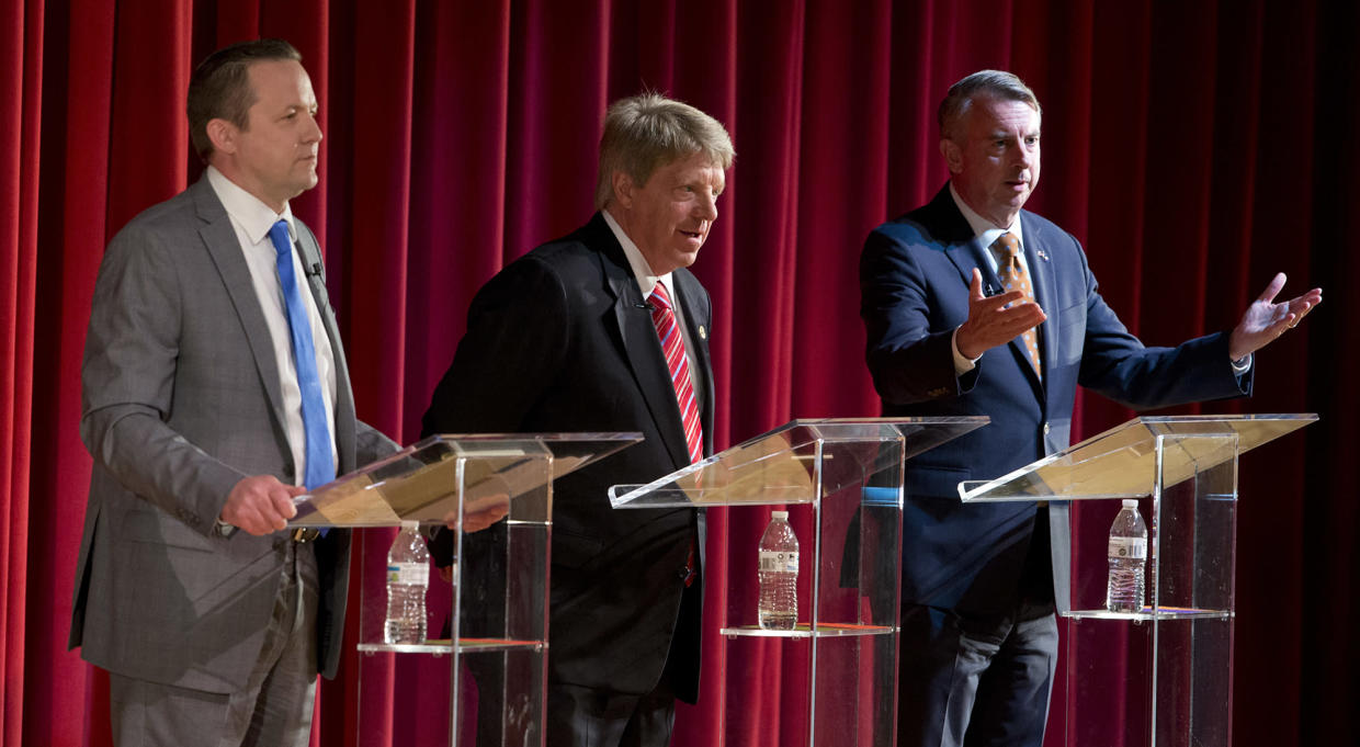 Republican gubernatorial candidates Ed Gillespie, right, Corey Stewart, left, and Frank Wagner, center, debatel in Goochland, Va., April 22, 2017. The three face off in a primary June 13. (Photo: Steve Helber/AP)'