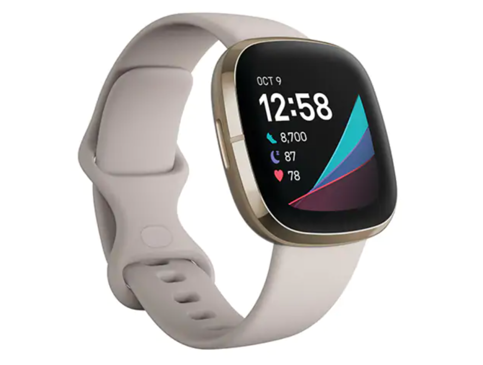 Fitbit Sense with Lunar White Band (Photo via The Source)
