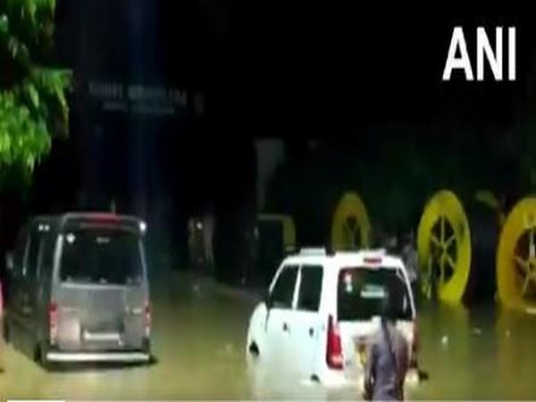 Waterlogging reported in the areas around Civil Hospital in Sector 10 of Gurugram (Photo/ANI)