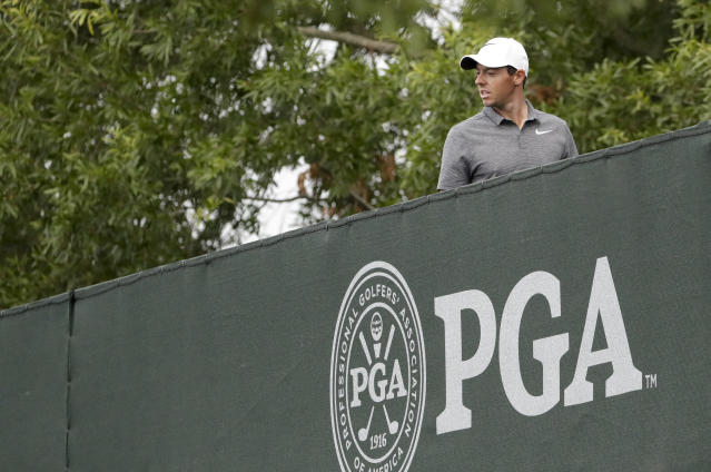 Rory McIlroy of Northern Ireland, walks to the 10th tee during the second round of the PGA Championship golf tournament at the Quail Hollow Club Friday, Aug. 11, 2017, in Charlotte, N.C. (AP Photo/John Bazemore)