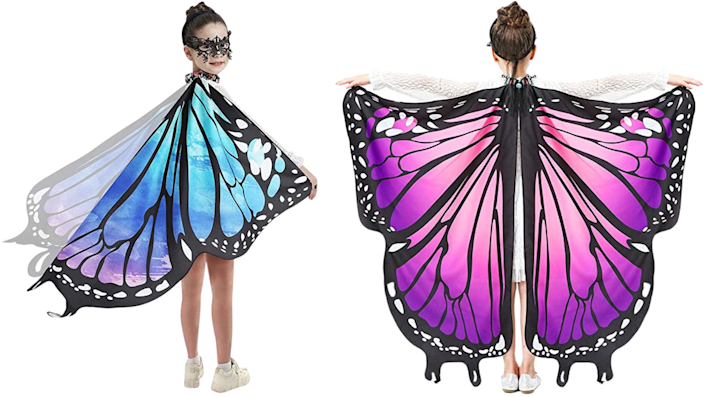 Sibling Halloween costumes: A caterpillar and a butterfly