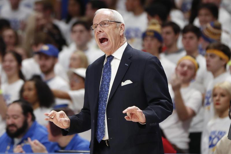 North Carolina head coach Roy Williams yells to his team as they play against Pittsburgh during the first half of an NCAA college basketball game, Saturday, Jan. 18, 2020, in Pittsburgh. Pittsburgh won 66-52. (AP Photo/Keith Srakocic)
