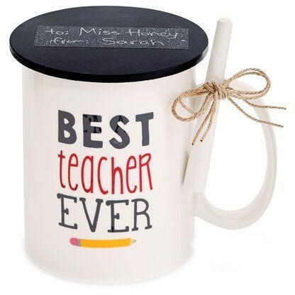 """<p><strong>Mud Pie</strong></p><p>hallmark.com</p><p><strong>$12.99</strong></p><p><a href=""""https://www.hallmark.com/gifts/kitchen/mugs-and-teacups/mud-pie-best-teacher-ever-mug-3-piece-set-43500010B.html"""" rel=""""nofollow noopener"""" target=""""_blank"""" data-ylk=""""slk:Shop Now"""" class=""""link rapid-noclick-resp"""">Shop Now</a></p><p>She'll appreciate the sweet sentiment on this mug and its bonus coaster while sipping her morning coffee or tea. </p>"""