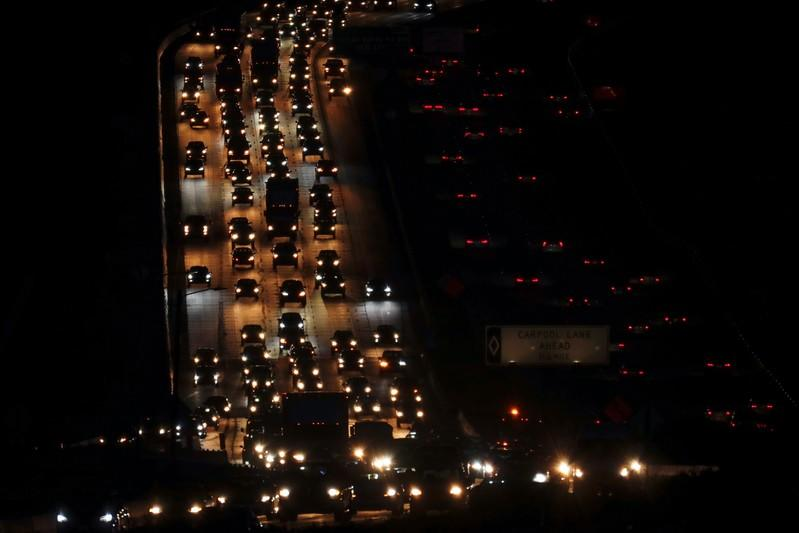 FILE PHOTO: Traffic travels along interstate 5 past Solana Beach, California
