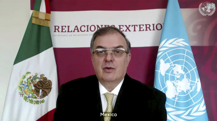 In this image made from UNTV video, Mexico's Foreign Minister Marcelo Ebrard speaks during a U.N. Security Council high-level meeting on COVID-19 recovery focusing on vaccinations, chaired by British Foreign Secretary Dominc Raab, Wednesday, Feb. 17, 2021. (UNTV via AP)