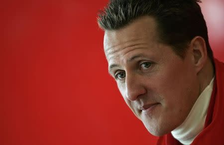 Michael Schumacher of Germany looks on during a news conference at the Mugello racetrack
