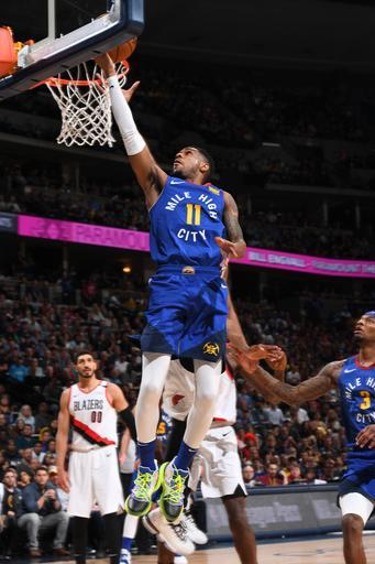 DENVER, CO - APRIL 5: Monte Morris #11 of the Denver Nuggets shoots the ball against the Portland Trail Blazers on April 5, 2019 at the Pepsi Center in Denver, Colorado. (Photo by Garrett Ellwood/NBAE via Getty Images)
