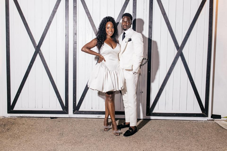 """We both changed for the reception. This adorable """"Estelle"""" dress by Danielle Frankel Studio gave me so much life! It was so fun and had a vintage, aristocratic feel!"""