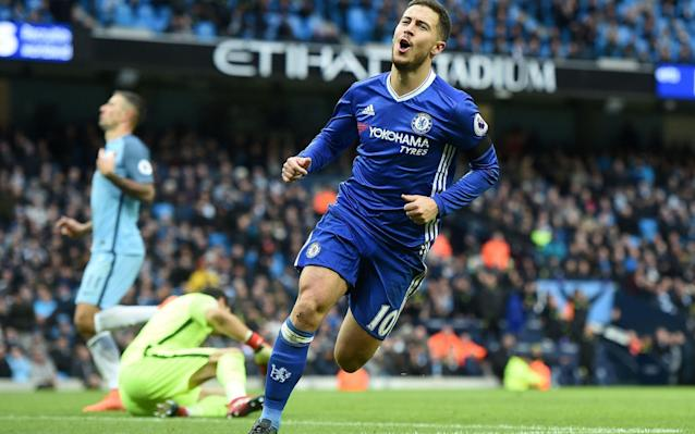 <span>Eden Hazard capped of a fine Chelsea win at City earlier in the season</span> <span>Credit: AFP </span>