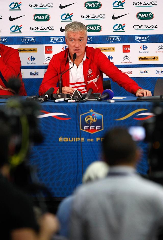 France's soccer team head coach Didier Deschamps speaks with the media during a press conference, at the Allianz Riviera Stadium, in Nice, southeastern France, Saturday, May 31, 2014. France, which will face Paraguay on Sunday, is preparing for the upcoming soccer World Cup in Brazil starting on 12 June. (AP Photo/Claude Paris)