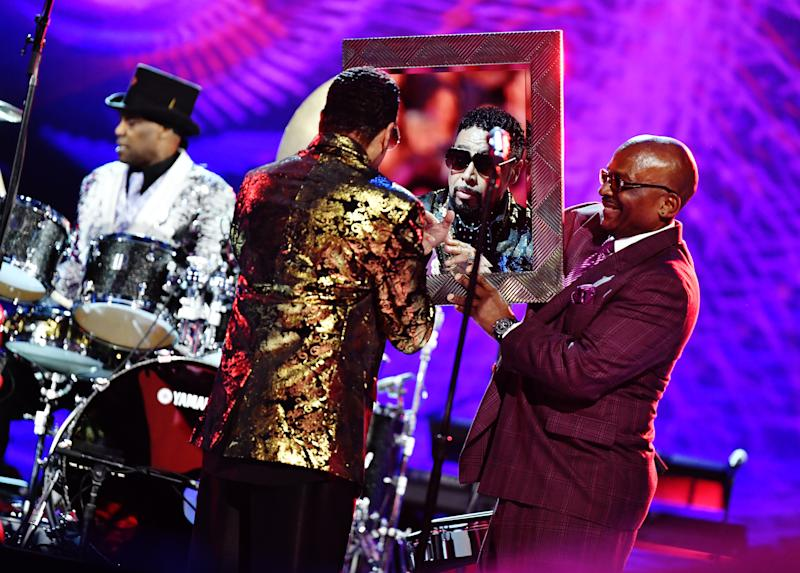 LOS ANGELES, CALIFORNIA - JAN 28: Morris Day and Jerome Benton of The Time perform on stage at the 62nd Annual GRAMMY Awards