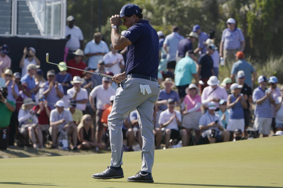 Phil Mickelson walks on the ninth green during the final round at the PGA Championship golf tournament on the Ocean Course, Sunday, May 23, 2021, in Kiawah Island, S.C. (AP Photo/Chris Carlson)