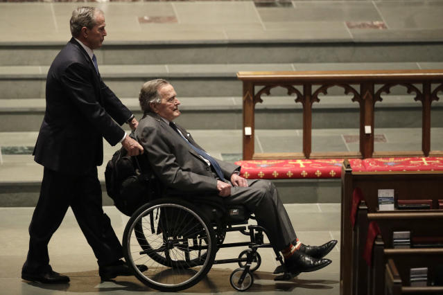 <p>Former Presidents George W. Bush, left, and George H.W. Bush arrive at St. Martin's Episcopal Church for a funeral service for former first lady Barbara Bush, Saturday, April 21, 2018, in Houston. (Photo: David J. Phillip/AP) </p>