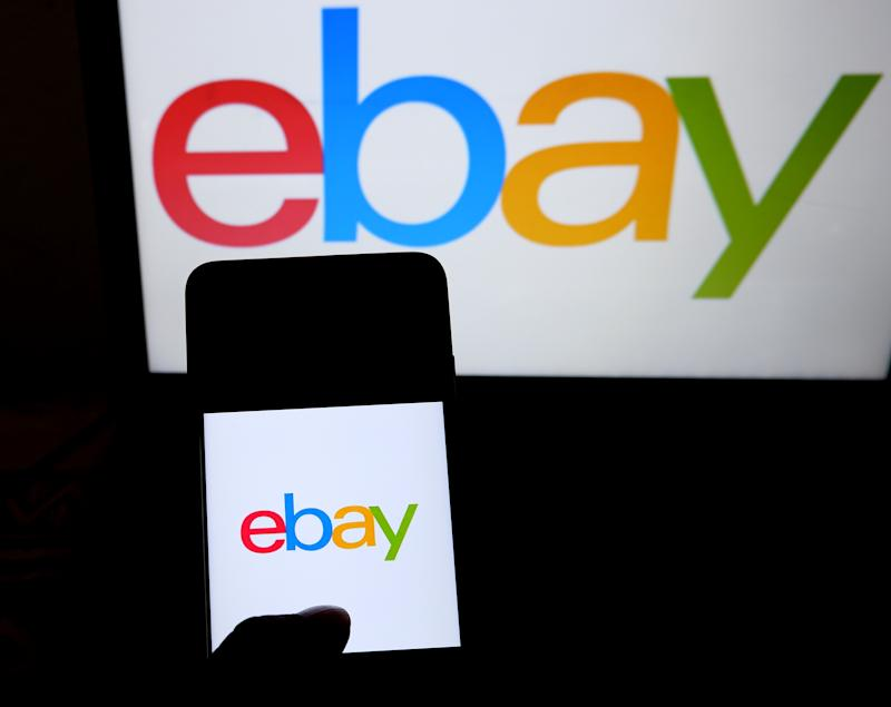 INDIA - 2019/07/23: In this photo illustration a popular B2C (Business to Consumer ) e-commerce site eBay logo seen displayed on a smartphone. (Photo Illustration by Avishek Das/SOPA Images/LightRocket via Getty Images)