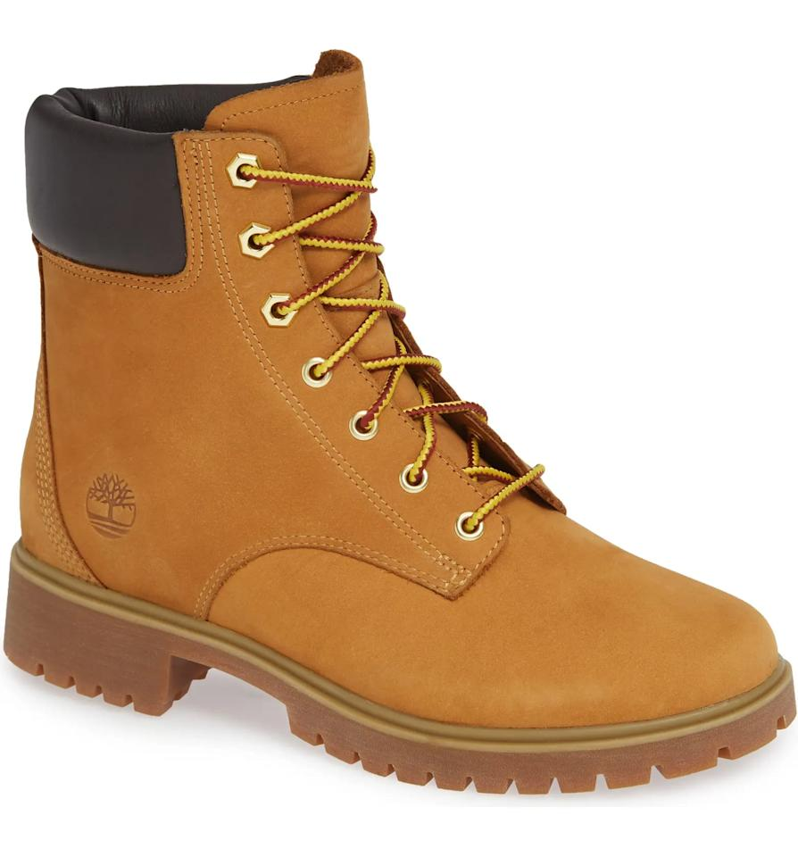 "<p>You can't go wrong with these iconic <product href=""https://www.nordstrom.com/s/timberland-jayne-waterproof-hiking-bootie-women/5635870?origin=category-personalizedsort&amp;breadcrumb=Home%2FWomen%2FShoes%2FBoots&amp;color=black%20leather"" target=""_blank"" class=""ga-track"" data-ga-category=""internal click"" data-ga-label=""https://www.nordstrom.com/s/timberland-jayne-waterproof-hiking-bootie-women/5635870?origin=category-personalizedsort&amp;breadcrumb=Home%2FWomen%2FShoes%2FBoots&amp;color=black%20leather"" data-ga-action=""body text link"">Timberland Jayne Waterproof Hiking Booties</product> ($160).</p>"