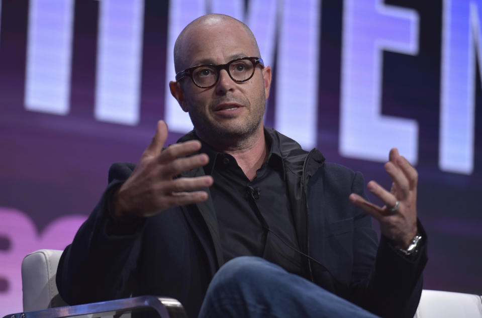 """Writer/executive producer Damon Lindelof participates in HBO's """"Watchmen"""" panel at the Television Critics Association Summer Press Tour on Wednesday, July 24, 2019, in Beverly Hills, Calif. (Photo by Richard Shotwell/Invision/AP)"""