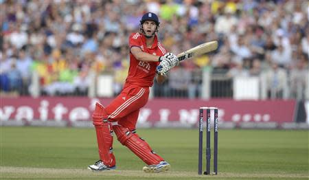 England's Alex Hales hits out during the second T20 international against Australia at the Riverside cricket ground in Chester-le-Street, near Durham, August 31, 2013. REUTERS/Philip Brown