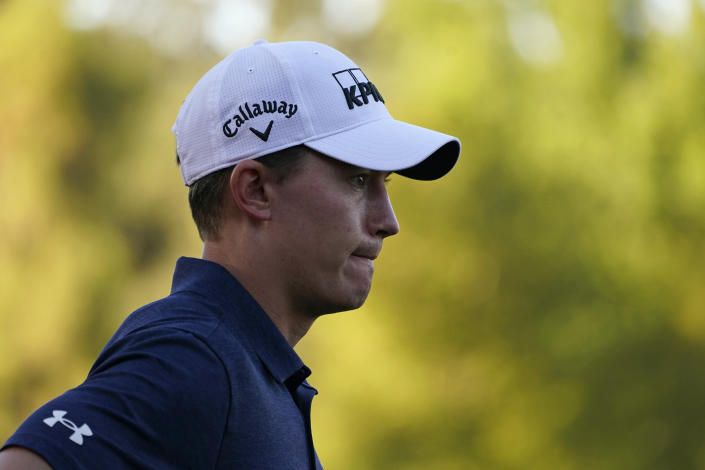 Maverick McNealy waits to putt on the 18th green of the Silverado Resort North Course during the final round of the Fortinet Championship PGA golf tournament Sunday, Sept. 19, 2021, in Napa, Calif. McNealy finished second in the tournament. (AP Photo/Eric Risberg)