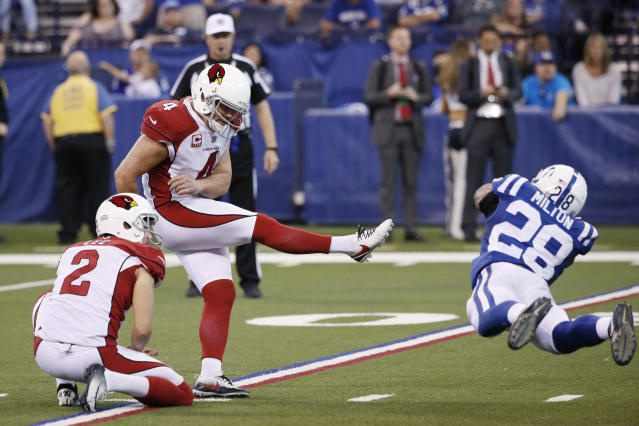 <p>Phil Dawson #4 of the Arizona Cardinals kicks a 30-yard field goal in overtime against the Indianapolis Colts at Lucas Oil Stadium on September 17, 2017 in Indianapolis, Indiana. The Cardinals won 16-13. (Photo by Joe Robbins/Getty Images) </p>