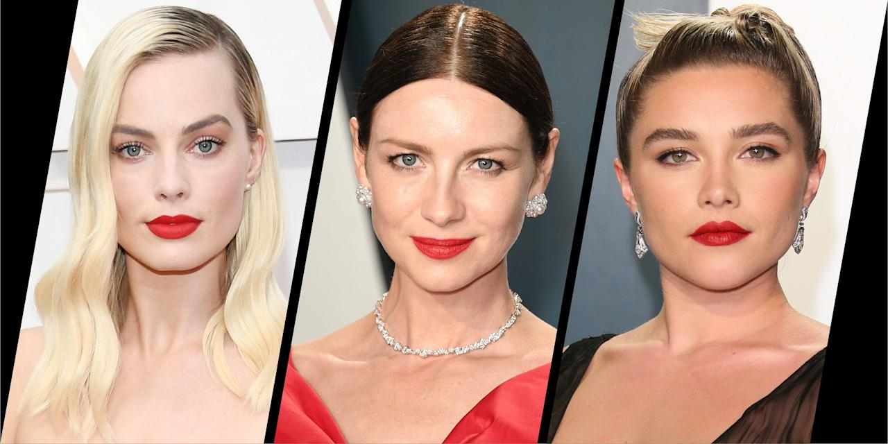 """<p>""""The red lip says: I'm bold, I'm confident, I'm feminine, I'm strong, I'm here and I want you to see me,"""" wrote make-up artist Jo Baker on Instagram, the woman who painted Lucy Boynton's lips in the iconic shade for this year's <a href=""""https://www.harpersbazaar.com/uk/awards-season/g26498721/oscars-red-carpet/"""" target=""""_blank"""">Oscars ceremony</a>. </p><p>While it might have been a popular choice at the 2020 awards ceremony, red lipstick surpasses beauty trends – living in its own league as a beauty classic. </p><p>Whether you're a red lip devotee or are falling for the statement shade this month, below be inspired by the famous faces sporting red hot lips during award season's biggest night. It goes to show, there really is a red for everyone.</p>"""