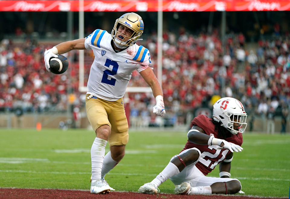 UCLA's Kyle Philips celebrates his fourth-quarter touchdown catch against Stanford on Sept. 25, 2021