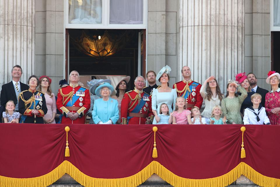 (left to right) Queen Elizabeth II, stands with members of the royal family, on the balcony of Buckingham Palace, in central London, following the Trooping the Colour ceremony at Horse Guards Parade as the Queen celebrates her official birthday.