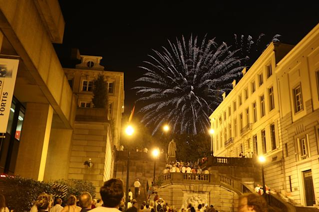 BRUSSELS, BELGIUM - JULY 21: Fireworks seen after the Abdication Of King Albert II Of Belgium, & Inauguration Of King Philippe on July 21, 2013 in Brussels, Belgium. (Photo by Tim P. Whitby/Getty Images)