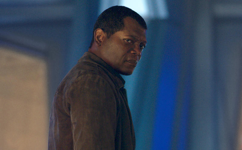 """This image released by Disney-Marvel shows Samuel L. Jackson as a younger Nick Fury in a scene from """"Captain Marvel. New digital de-aging techniques have shaved decades from Jackson's face. (Disney/Marvel Studios via AP)"""