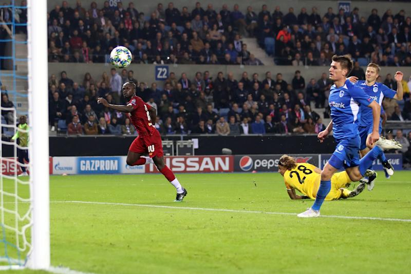 GENK, BELGIUM - OCTOBER 23: Sadio Mane of Liverpool scores their 3rd goal during the UEFA Champions League group E match between KRC Genk and Liverpool FC at Luminus Arena on October 23, 2019 in Genk, Belgium. (Photo by Marc Atkins/Getty Images)