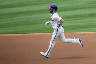 Philadelphia Phillies' Bryce Harper (3) runs the bases after hitting a home run during the first inning of a baseball game against the St. Louis Cardinals, Sunday, April 18, 2021, in Philadelphia. (AP Photo/Laurence Kesterson)