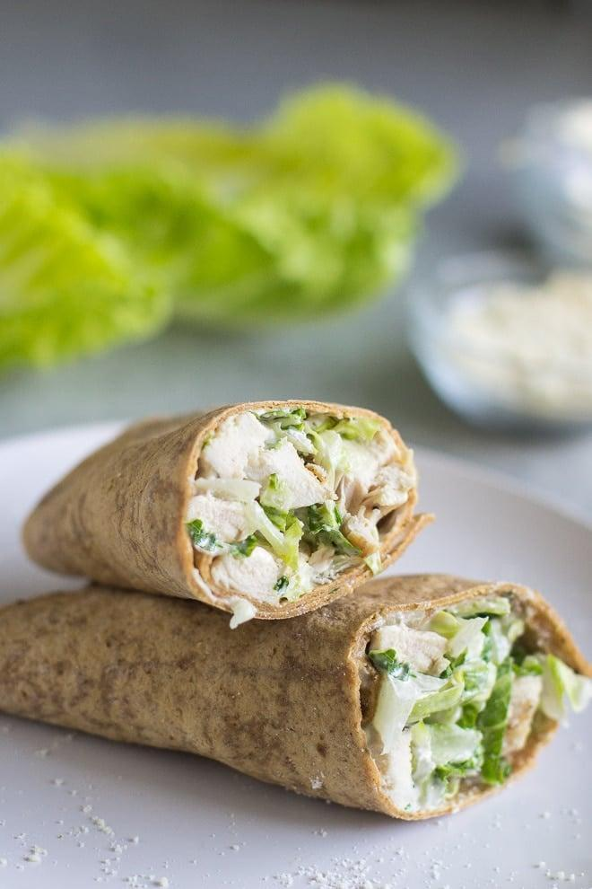 "<p>The best part about this meal, succulent from the chicken and crispy from the lettuce, is that you can make the grilled chicken ahead of time and use the leftovers for wraps the next day.</p> <p><strong>Get the recipe:</strong> <a href=""https://www.culinaryhill.com/grilled-chicken-caesar-wrap/"" class=""link rapid-noclick-resp"" rel=""nofollow noopener"" target=""_blank"" data-ylk=""slk:grilled chicken caesar wrap"">grilled chicken caesar wrap</a></p>"
