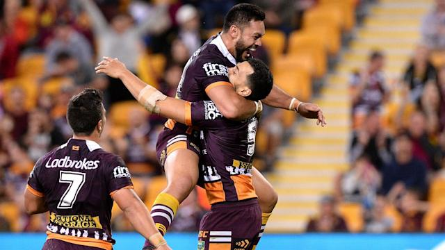 Brisbane Broncos ran in six tries to consign Penrith Panthers to a fifth loss in a row, but James Roberts was injured late on.
