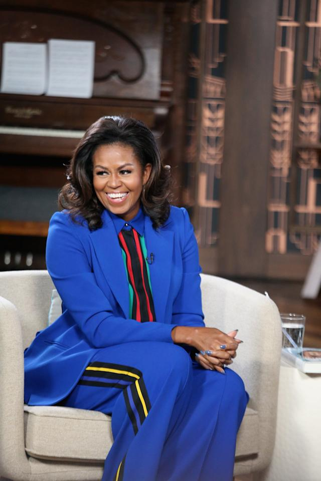 "<p>Wearing an <a href=""https://www.popsugar.com/fashion/Michelle-Obama-Blue-Elie-Saab-Suit-2019-45866680"" class=""ga-track"" data-ga-category=""Related"" data-ga-label=""https://www.popsugar.com/fashion/Michelle-Obama-Blue-Elie-Saab-Suit-2019-45866680"" data-ga-action=""In-Line Links"">Elie Saab suit</a> from the Spring 2019 collection.</p>"