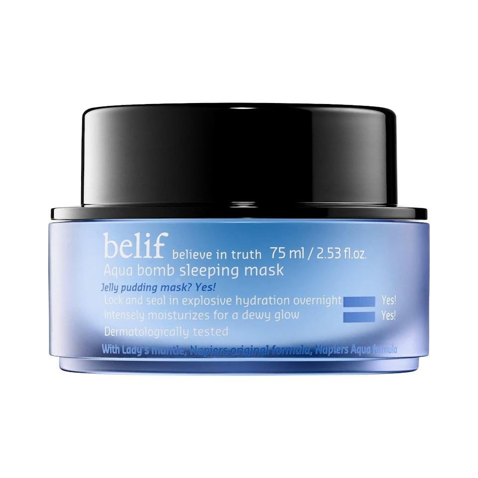 """<p>The <span>Belif Aqua Bomb Sleeping Mask</span> ($34) is known around the POPSUGAR office to be intensely hydrating and potent. Reviewers agree, with one person saying, """"From the bottom of my heart, I recommend this product to anyone who struggles with combination skin.""""</p>"""