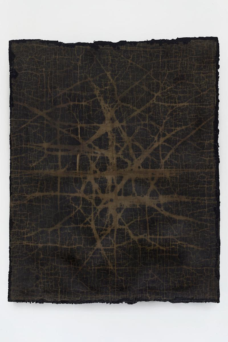 network #2, 2019 Cotton, wax, resin, and tar on canvas 67 x 52 1/4 x 1 1/2 inches
