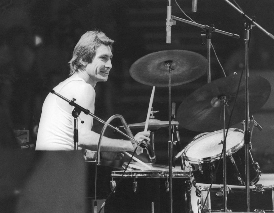 <p>Charlie Watts of the Rolling Stones, at a British concert in London in 1973.</p>
