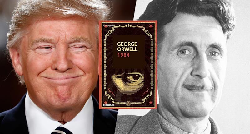 President Donald Trump, cover of 1984 and author George Orwell. (Yahoo News photo Illustration; photos: Amazon, AP, Getty)