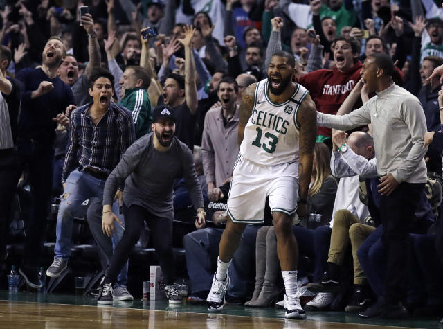 Marcus Morris was very, very amped after hitting what proved to be the game-winner. (AP)