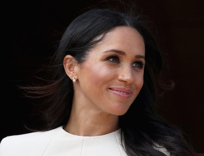 On June 14, the Duchess of Sussex debuted a gift from the Queen while in Cheshire [Photo: Getty]
