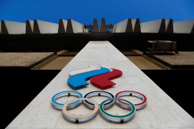 Logo of Russia's Olympic Committee is seen on its building in Moscow