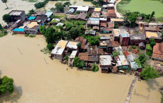 A photo taken on July 26, 2020 shows an aerial view of a flood-affected village in Darbhanga district in Bihar.