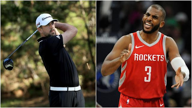 Footballs and basketballs will be swapped for golf clubs in a charity event fronted by Aaron Rodgers and Chris Paul.
